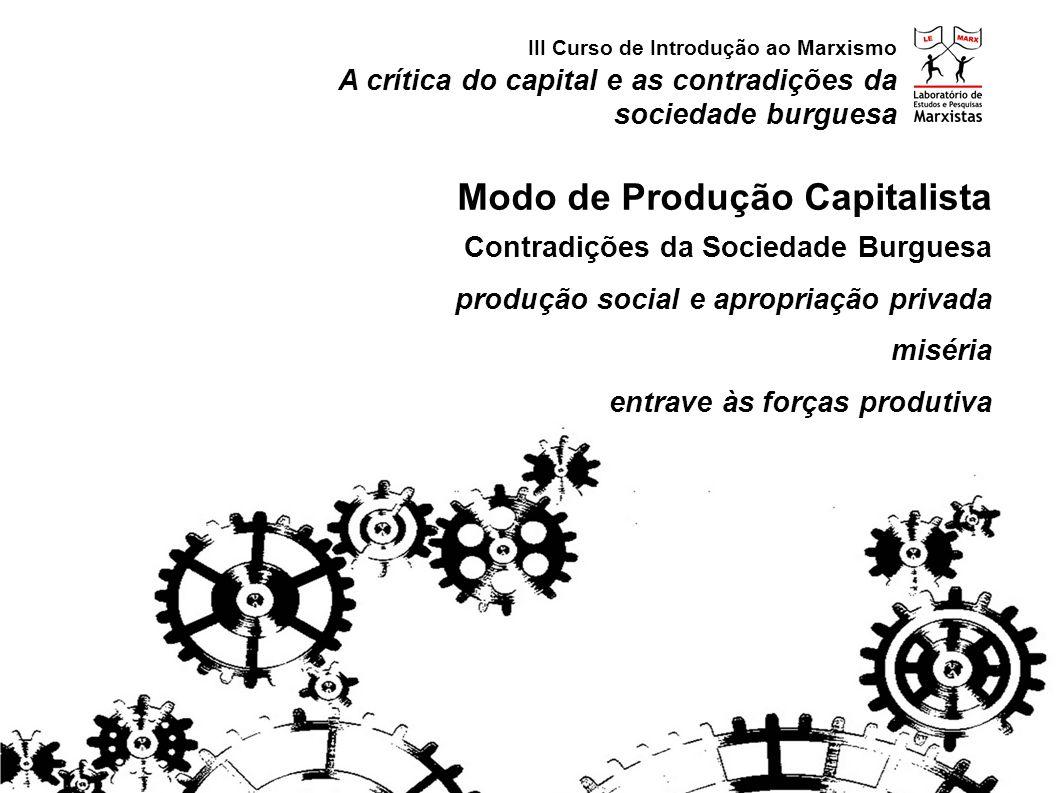 A crítica do capital e as contradições da sociedade burguesa III Curso de Introdução ao Marxismo Modo de Produção Capitalista Contradições da Sociedad