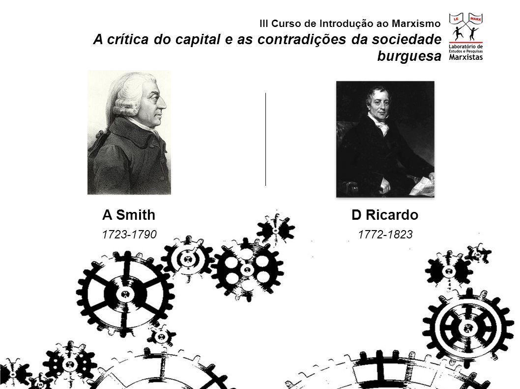 A crítica do capital e as contradições da sociedade burguesa Economia (distribuição e circulação) Crítica da Economia Política (produção) III Curso de Introdução ao Marxismo