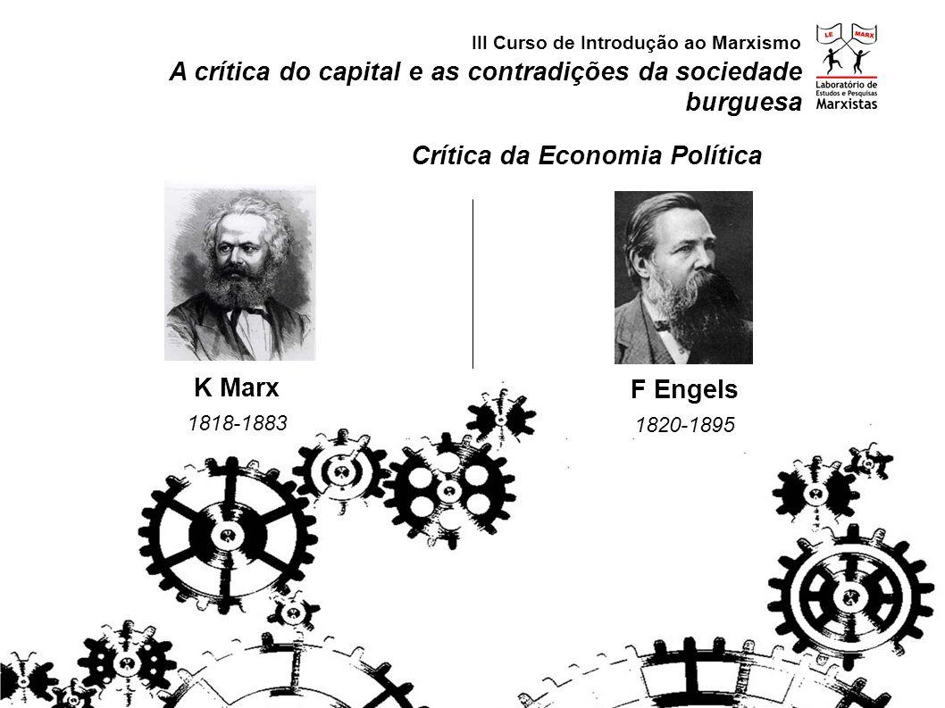 A crítica do capital e as contradições da sociedade burguesa III Curso de Introdução ao Marxismo Modo de Produção Capitalista Contradições da Sociedade Burguesa produção social e apropriação privada miséria entrave às forças produtiva