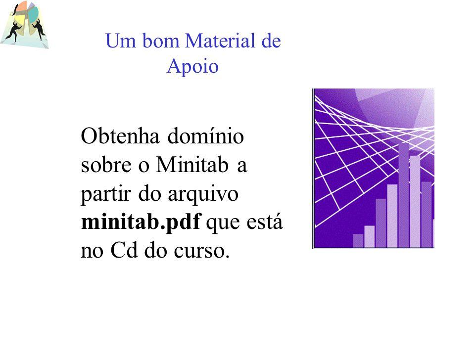 Obtenha domínio sobre o Minitab a partir do arquivo minitab.pdf que está no Cd do curso. Um bom Material de Apoio