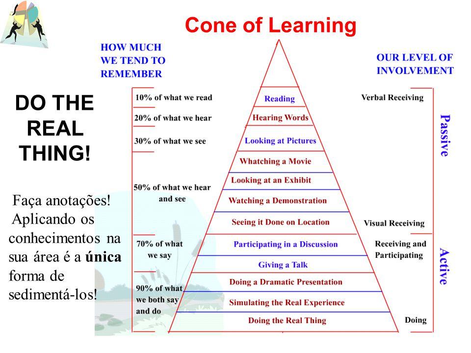 DO THE REAL THING! Faça anotações! Aplicando os conhecimentos na sua área é a única forma de sedimentá-los! Cone of Learning