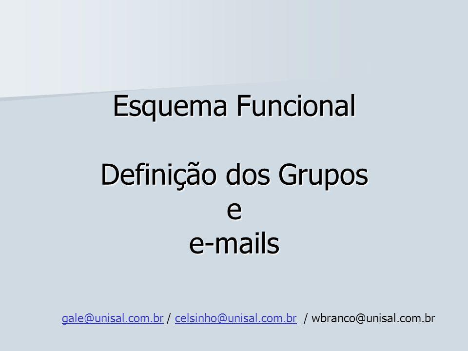 Esquema Funcional Definição dos Grupos e e-mails gale@unisal.com.brgale@unisal.com.br / celsinho@unisal.com.br / wbranco@unisal.com.brcelsinho@unisal.