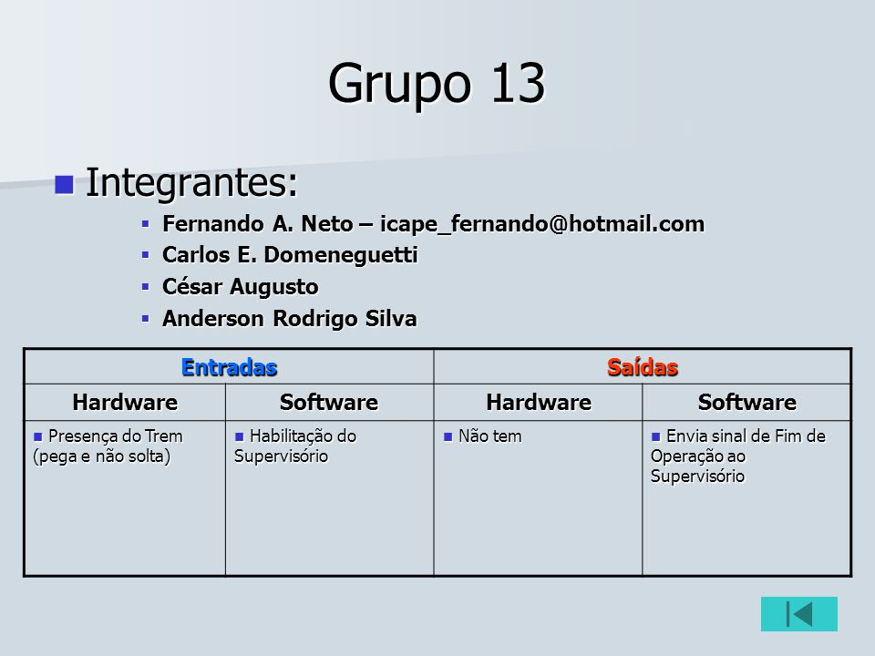 Grupo 13 Integrantes: Integrantes: Fernando A. Neto – icape_fernando@hotmail.com Fernando A. Neto – icape_fernando@hotmail.com Carlos E. Domeneguetti