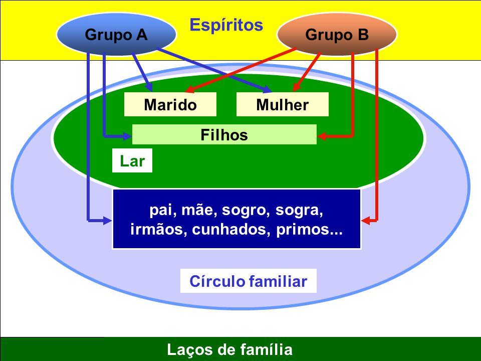 11 Laços de família Grupo AGrupo B MaridoMulher Filhos pai, mãe, sogro, sogra, irmãos, cunhados, primos... Círculo familiar Lar Espíritos