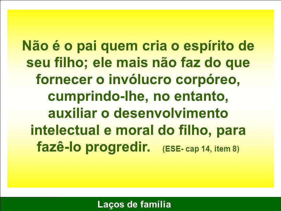15 Laços de família Não é o pai quem cria o espírito de seu filho; ele mais não faz do que fornecer o invólucro corpóreo, cumprindo-lhe, no entanto, a