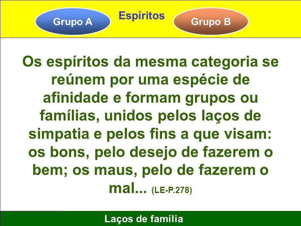 5 Laços de família Grupo AGrupo B Espíritos Os espíritos da mesma categoria se reúnem por uma espécie de afinidade e formam grupos ou famílias, unidos