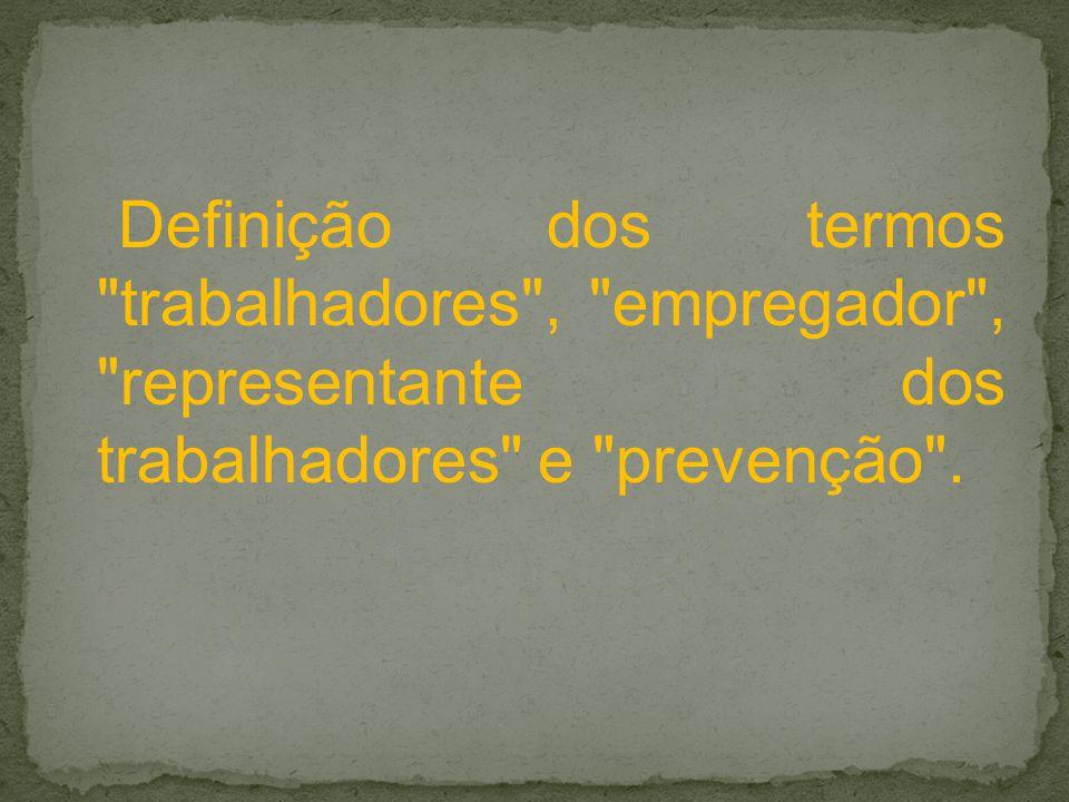 Definição dos termos trabalhadores , empregador , representante dos trabalhadores e prevenção .