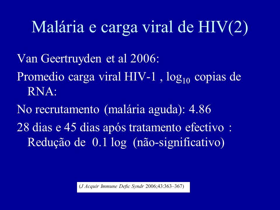 Malária e carga viral de HIV(2) Van Geertruyden et al 2006: Promedio carga viral HIV-1, log 10 copias de RNA: No recrutamento (malária aguda): 4.86 28 dias e 45 dias após tratamento efectivo : Redução de 0.1 log (não-significativo)