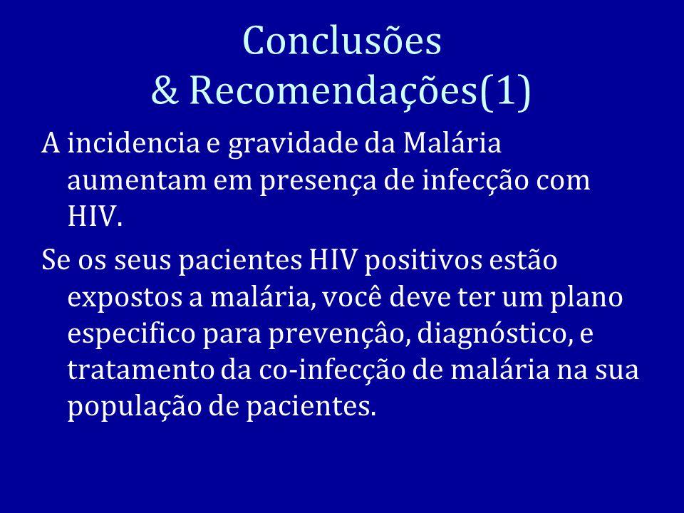 Conclusões & Recomendações(1) A incidencia e gravidade da Malária aumentam em presença de infecção com HIV.