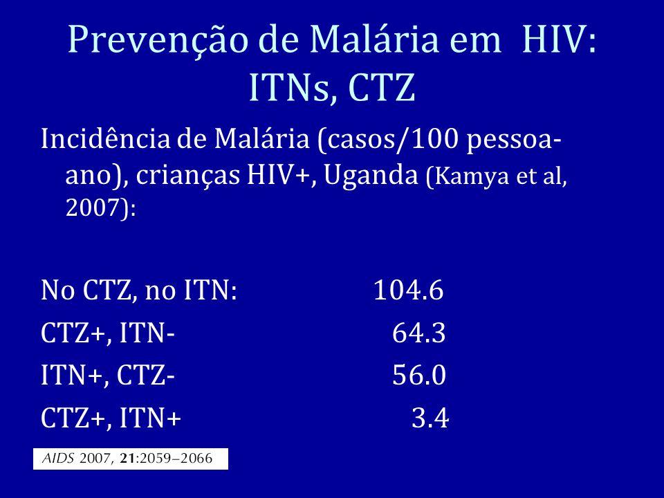 Prevenção de Malária em HIV: ITNs, CTZ Incidência de Malária (casos/100 pessoa- ano), crianças HIV+, Uganda (Kamya et al, 2007): No CTZ, no ITN: 104.6 CTZ+, ITN- 64.3 ITN+, CTZ- 56.0 CTZ+, ITN+ 3.4