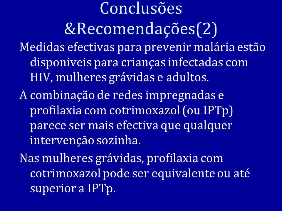 Conclusões &Recomendações(2) Medidas efectivas para prevenir malária estão disponiveis para crianças infectadas com HIV, mulheres grávidas e adultos.