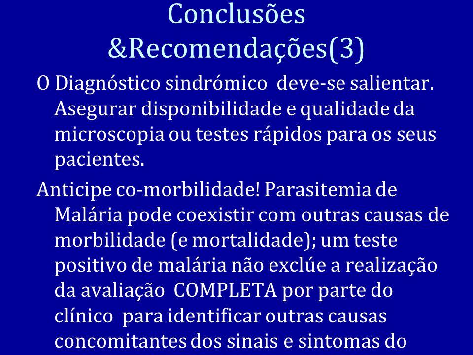 Conclusões &Recomendações(3) O Diagnóstico sindrómico deve-se salientar.