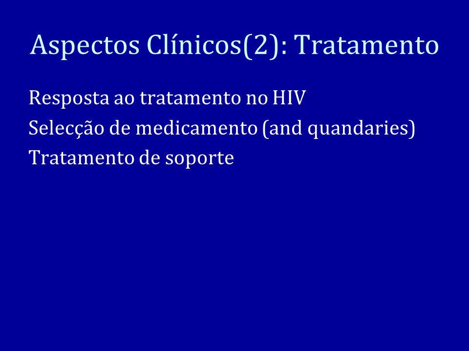 Aspectos Clínicos(2): Tratamento Resposta ao tratamento no HIV Selecção de medicamento (and quandaries) Tratamento de soporte