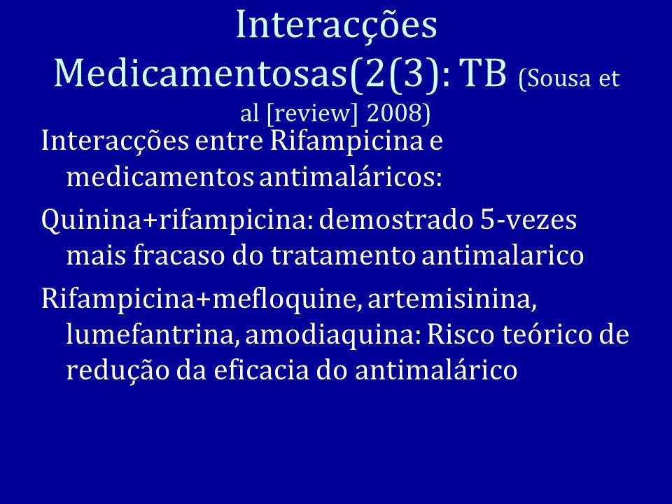 Interacções Medicamentosas(2(3): TB (Sousa et al [review] 2008) Interacções entre Rifampicina e medicamentos antimaláricos: Quinina+rifampicina: demostrado 5-vezes mais fracaso do tratamento antimalarico Rifampicina+mefloquine, artemisinina, lumefantrina, amodiaquina: Risco teórico de redução da eficacia do antimalárico