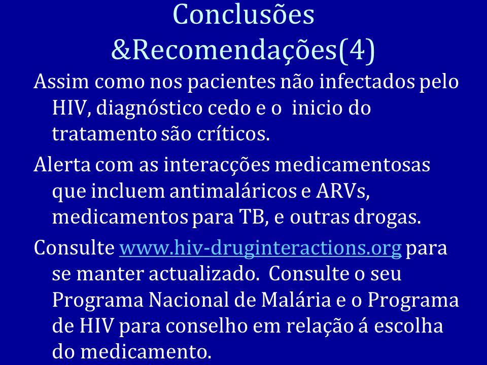 Conclusões &Recomendações(4) Assim como nos pacientes não infectados pelo HIV, diagnóstico cedo e o inicio do tratamento são críticos.