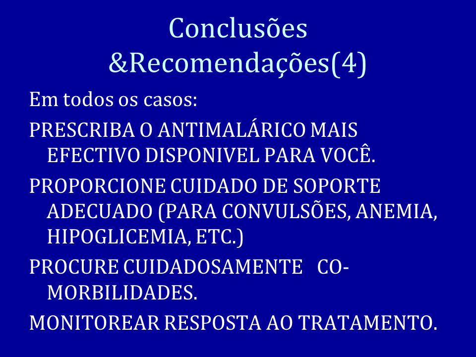 Conclusões &Recomendações(4) Em todos os casos: PRESCRIBA O ANTIMALÁRICO MAIS EFECTIVO DISPONIVEL PARA VOCÊ.