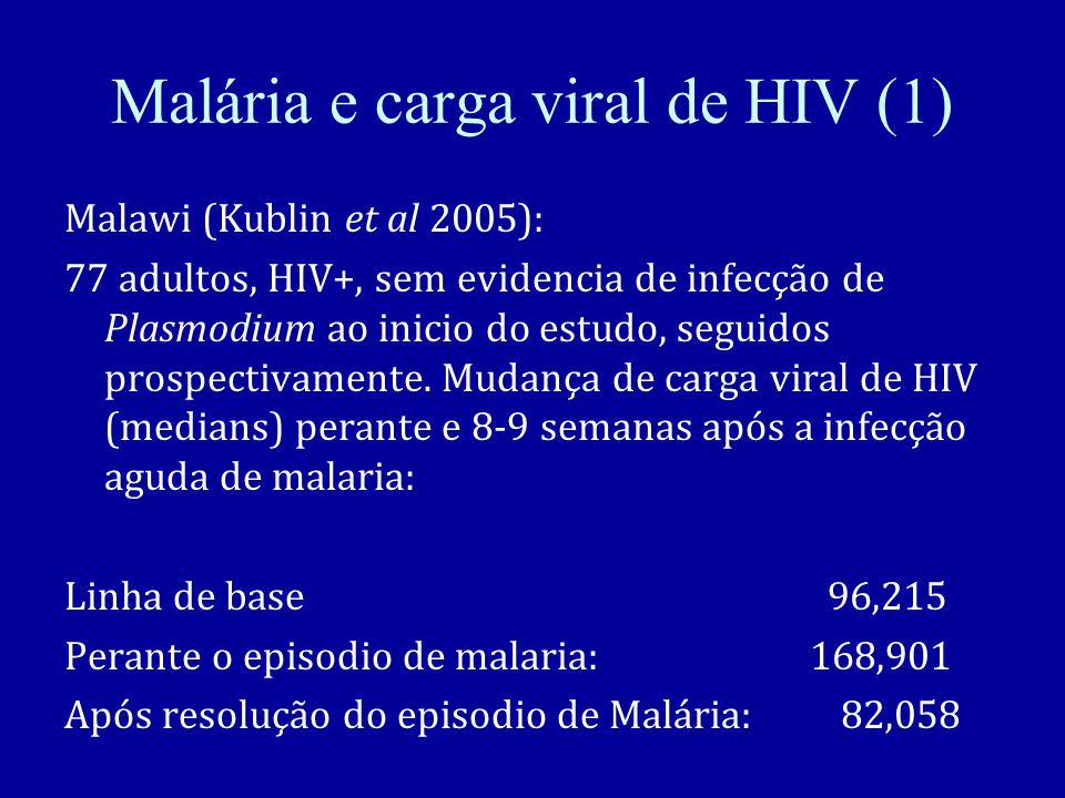 Malária e carga viral de HIV (1) Malawi (Kublin et al 2005): 77 adultos, HIV+, sem evidencia de infecção de Plasmodium ao inicio do estudo, seguidos prospectivamente.