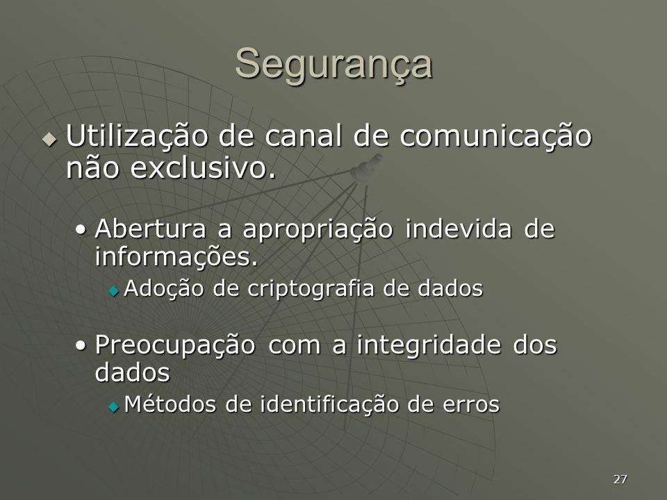 27 Segurança Utilização de canal de comunicação não exclusivo. Utilização de canal de comunicação não exclusivo. Abertura a apropriação indevida de in