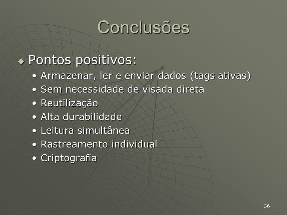 36 Conclusões Pontos positivos: Pontos positivos: Armazenar, ler e enviar dados (tags ativas)Armazenar, ler e enviar dados (tags ativas) Sem necessida