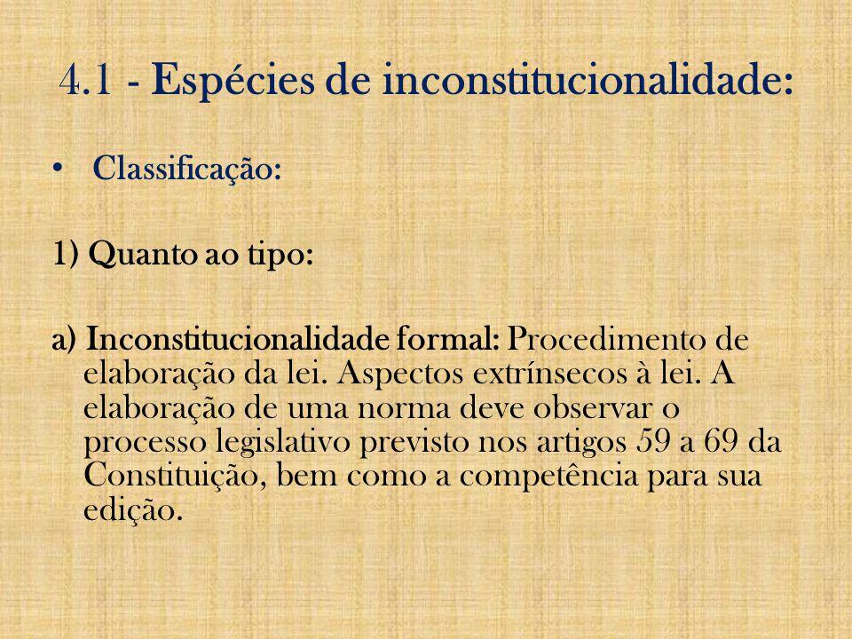 Inconstitucionalidade : Inconstitucionalidade refere-se à relação entre as normas e a Constituição.