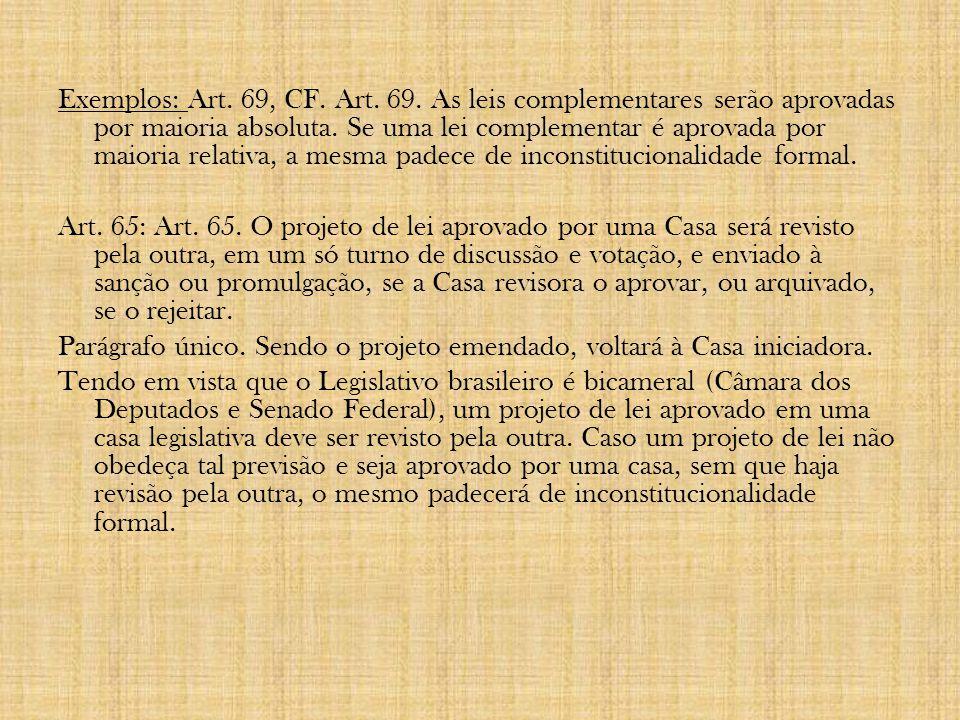 4.1 - Espécies de inconstitucionalidade: Classificação: 1) Quanto ao tipo: a) Inconstitucionalidade formal: Procedimento de elaboração da lei.