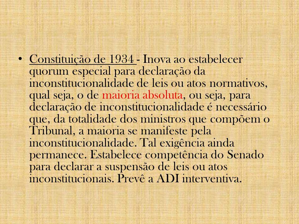 5. Evolução do Controle de Constitucionalidade no Brasil Constituição do Império (1824); Constituição de 1891 – origem do controle de constitucionalid