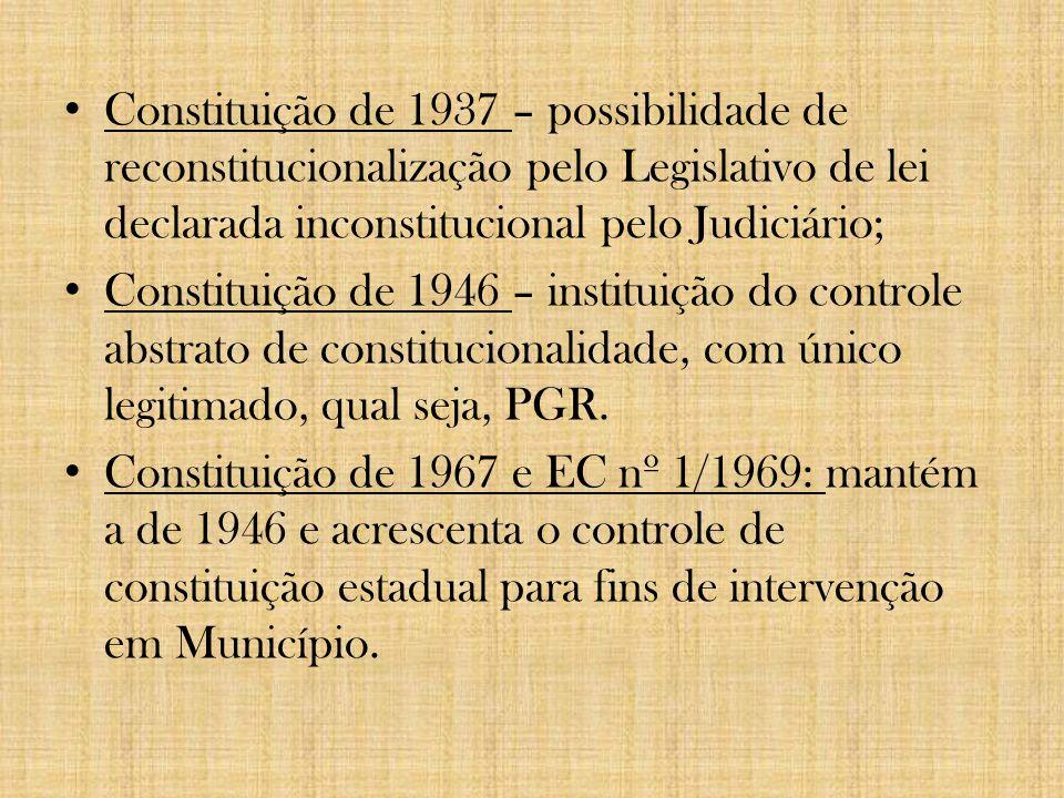 Constituição de 1934 - Inova ao estabelecer quorum especial para declaração da inconstitucionalidade de leis ou atos normativos, qual seja, o de maioria absoluta, ou seja, para declaração de inconstitucionalidade é necessário que, da totalidade dos ministros que compõem o Tribunal, a maioria se manifeste pela inconstitucionalidade.