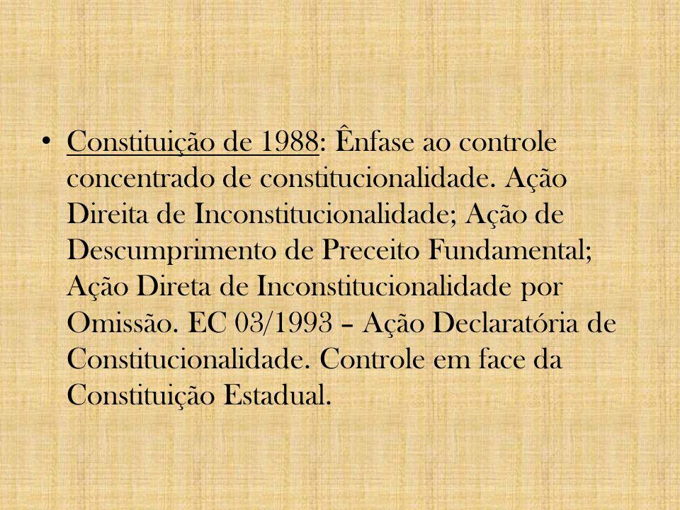 Constituição de 1937 – possibilidade de reconstitucionalização pelo Legislativo de lei declarada inconstitucional pelo Judiciário; Constituição de 1946 – instituição do controle abstrato de constitucionalidade, com único legitimado, qual seja, PGR.