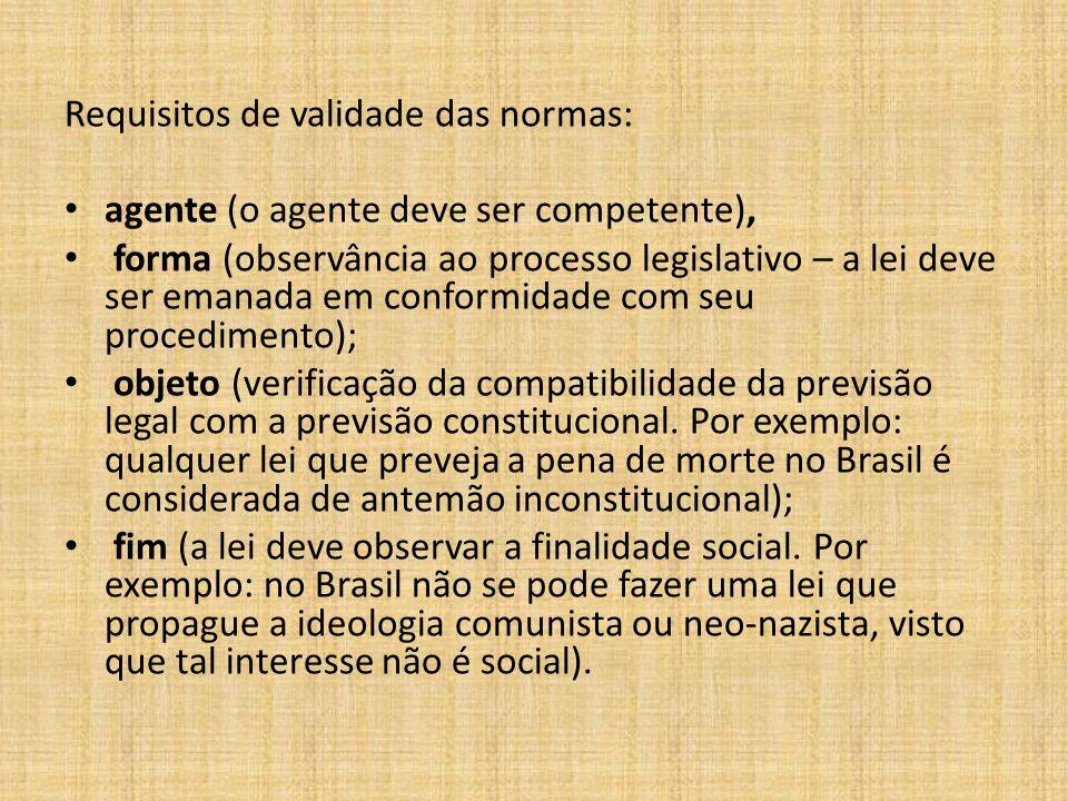 1 - A validade das normas jurídicas A validade das normas jurídicas (seja ela uma regra, seja ela um princípio) é analisada em consonância com o ordenamento jurídico no qual a mesma se insere.