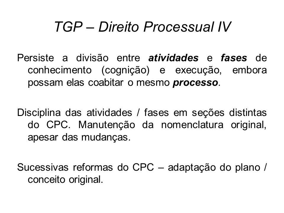 TGP – Direito Processual IV Persiste a divisão entre atividades e fases de conhecimento (cognição) e execução, embora possam elas coabitar o mesmo processo.