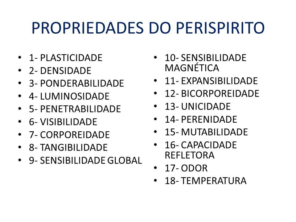 PROPRIEDADES DO PERISPIRITO 1- PLASTICIDADE 2- DENSIDADE 3- PONDERABILIDADE 4- LUMINOSIDADE 5- PENETRABILIDADE 6- VISIBILIDADE 7- CORPOREIDADE 8- TANG