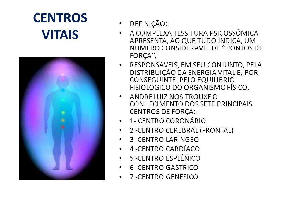 CENTROS VITAIS DEFINIÇÃO: A COMPLEXA TESSITURA PSICOSSÔMICA APRESENTA, AO QUE TUDO INDICA, UM NUMERO CONSIDERAVEL DE PONTOS DE FORÇA, RESPONSAVEIS, EM