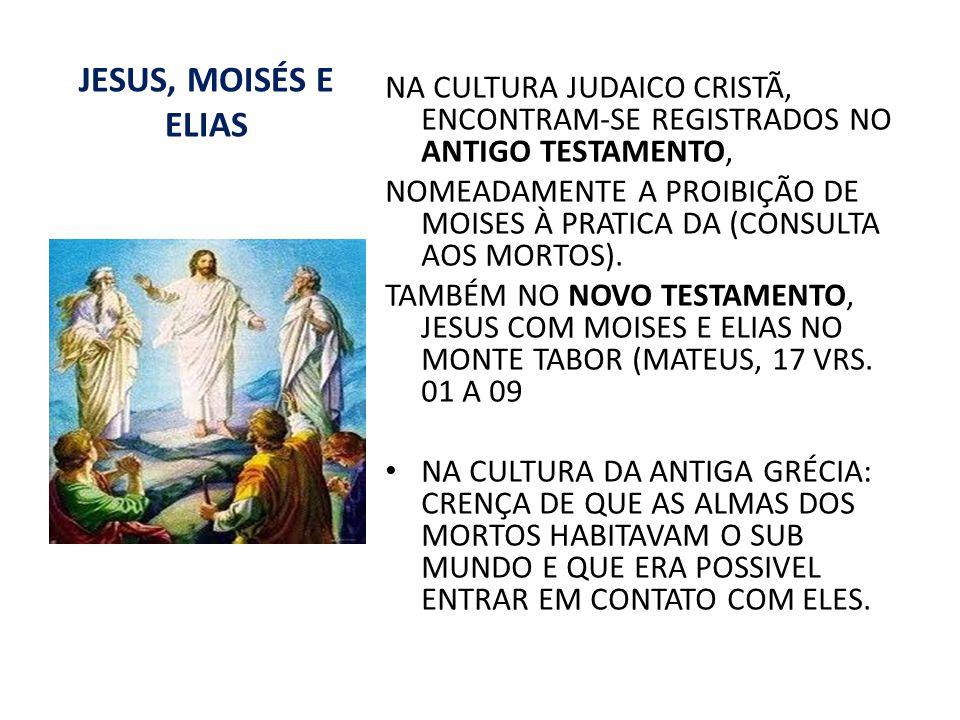 JESUS, MOISÉS E ELIAS NA CULTURA JUDAICO CRISTÃ, ENCONTRAM-SE REGISTRADOS NO ANTIGO TESTAMENTO, NOMEADAMENTE A PROIBIÇÃO DE MOISES À PRATICA DA (CONSU