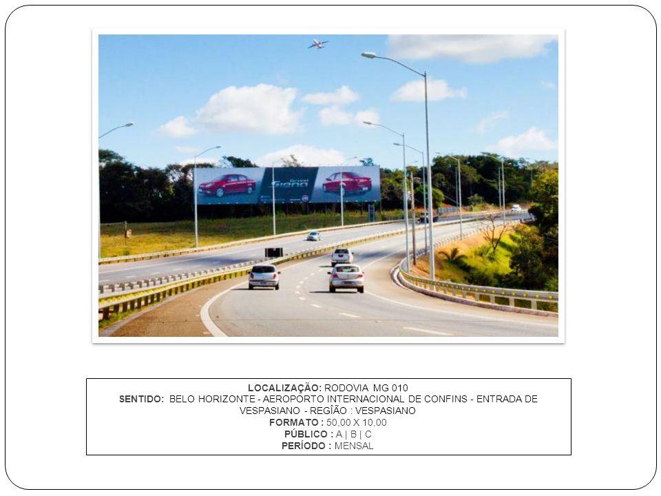 LOCALIZAÇÃO: RODOVIA MG 010 SENTIDO: BELO HORIZONTE - AEROPORTO INTERNACIONAL DE CONFINS - ENTRADA DE VESPASIANO - REGÎÃO : VESPASIANO FORMATO : 50,00