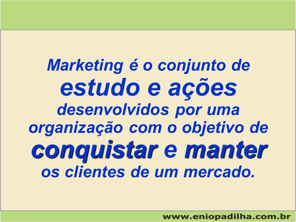 Marketing é o conjunto de estudo e ações conquistarmanter desenvolvidos por uma organização com o objetivo de conquistar e manter os clientes de um mercado.