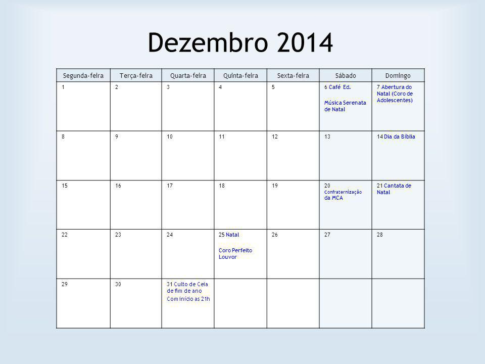 Dezembro 2014 Segunda-feiraTerça-feiraQuarta-feiraQuinta-feiraSexta-feiraSábadoDomingo 123456 Café Ed.