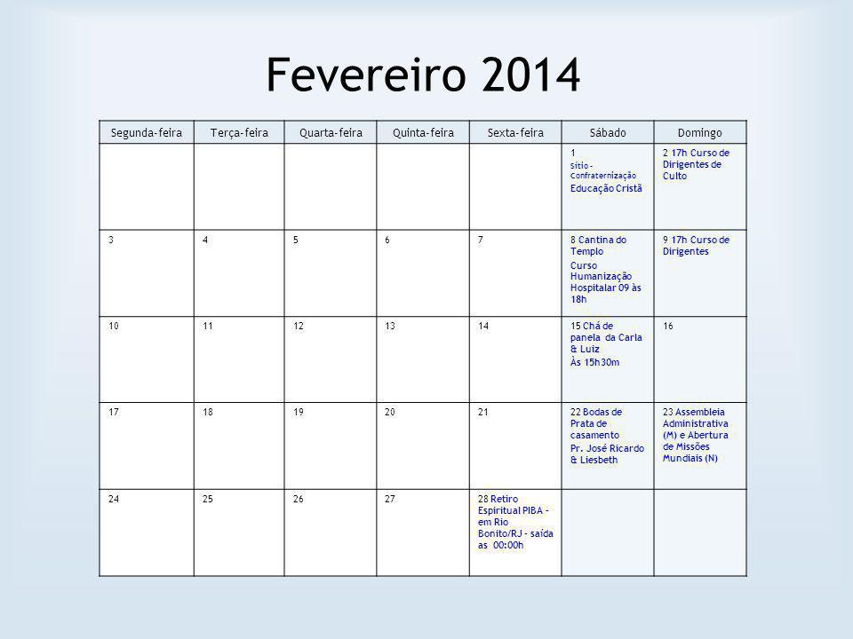 Fevereiro 2014 Segunda-feiraTerça-feiraQuarta-feiraQuinta-feiraSexta-feiraSábadoDomingo 1 Sítio – Confraternização Educação Cristã 2 17h Curso de Diri