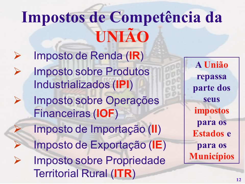 12 Impostos de Competência da UNIÃO Imposto de Renda (IR) Imposto sobre Produtos Industrializados (IPI) Imposto sobre Operações Financeiras (IOF) Impo