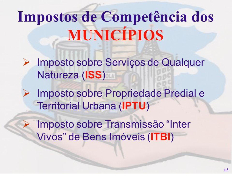 13 Impostos de Competência dos MUNICÍPIOS Imposto sobre Serviços de Qualquer Natureza (ISS) Imposto sobre Propriedade Predial e Territorial Urbana (IP