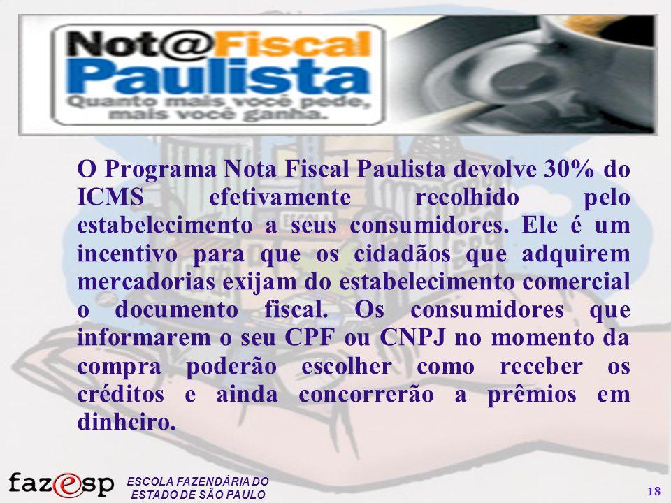 ESCOLA FAZENDÁRIA DO ESTADO DE SÃO PAULO 18 O Programa Nota Fiscal Paulista devolve 30% do ICMS efetivamente recolhido pelo estabelecimento a seus con