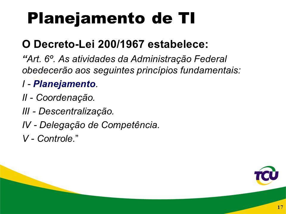 17 Planejamento de TI O Decreto-Lei 200/1967 estabelece: Art. 6º. As atividades da Administração Federal obedecerão aos seguintes princípios fundament