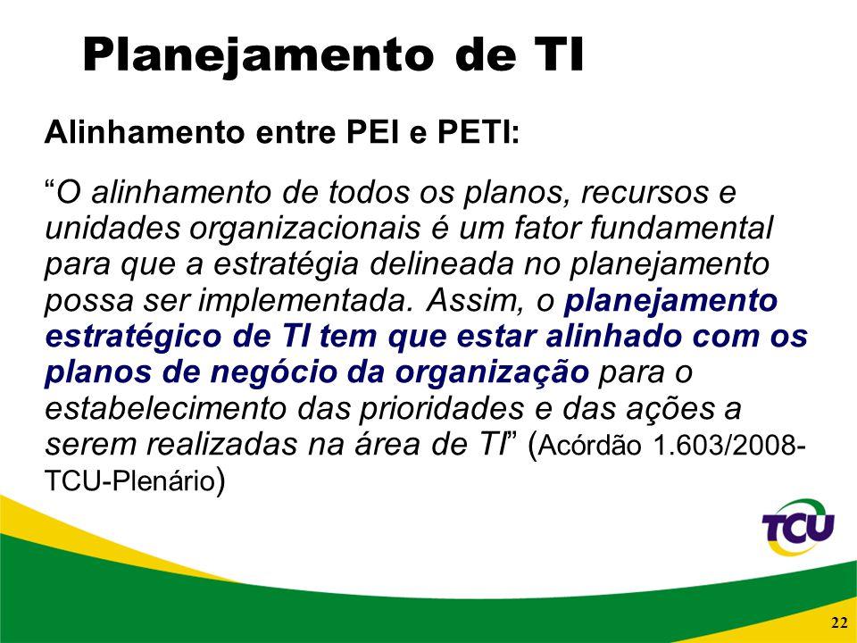 22 Planejamento de TI Alinhamento entre PEI e PETI: O alinhamento de todos os planos, recursos e unidades organizacionais é um fator fundamental para