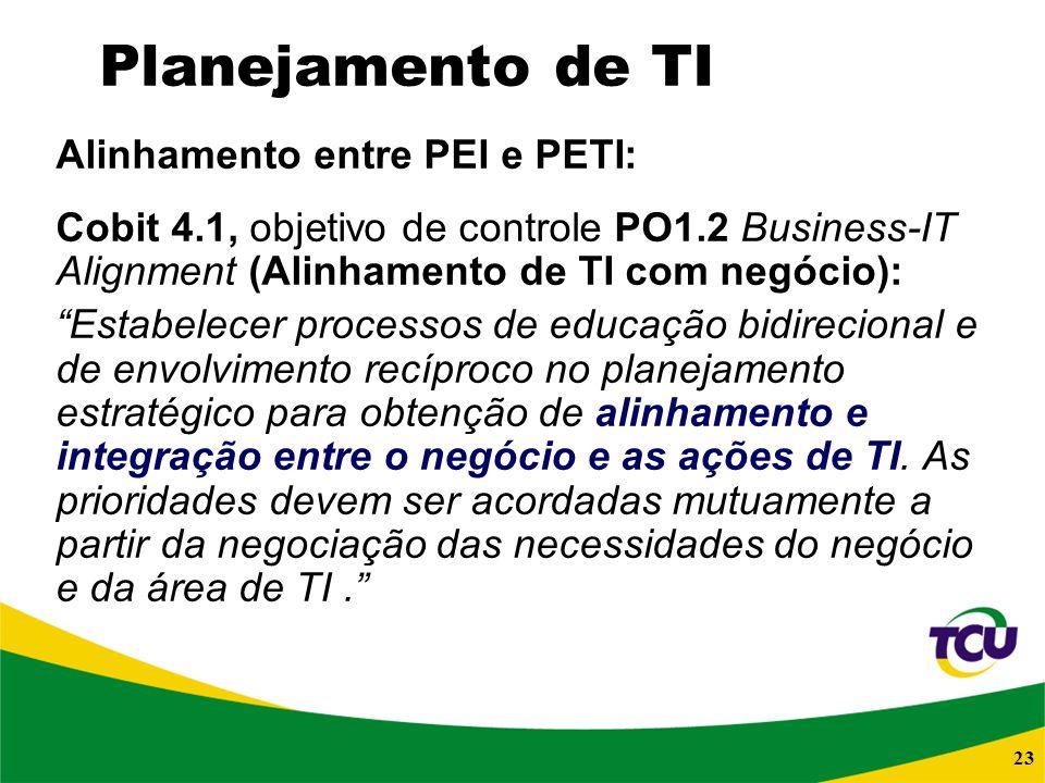 23 Planejamento de TI Alinhamento entre PEI e PETI: Cobit 4.1, objetivo de controle PO1.2 Business-IT Alignment (Alinhamento de TI com negócio): Estab
