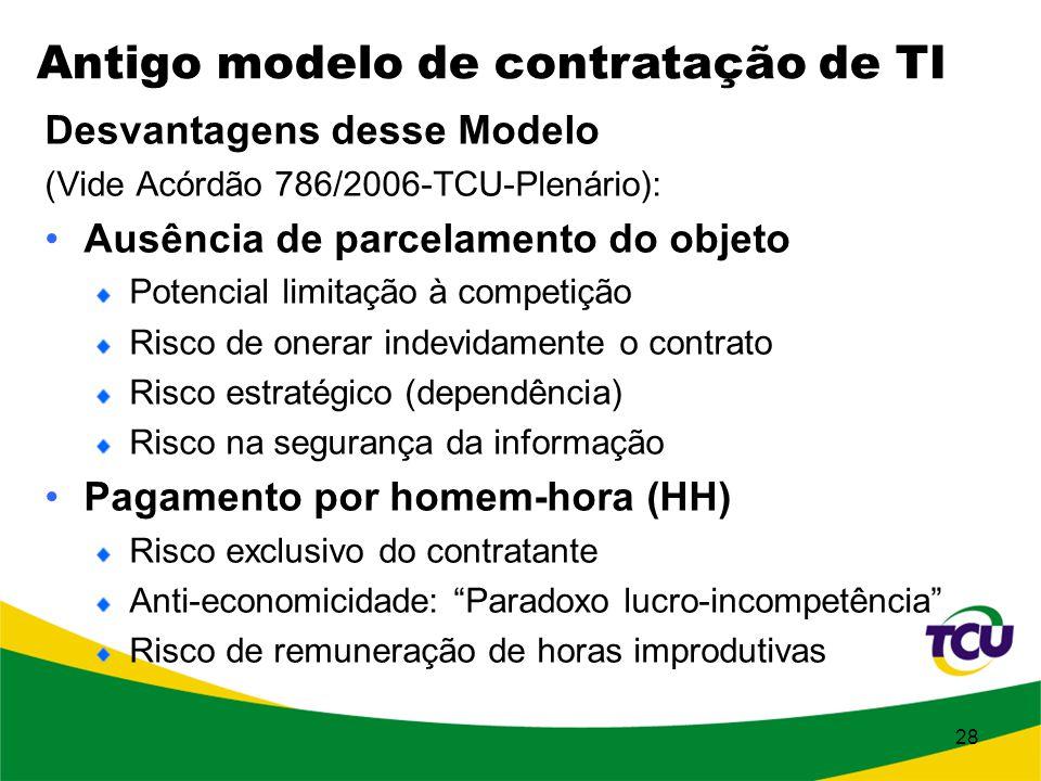 28 Desvantagens desse Modelo (Vide Acórdão 786/2006-TCU-Plenário): Ausência de parcelamento do objeto Potencial limitação à competição Risco de onerar