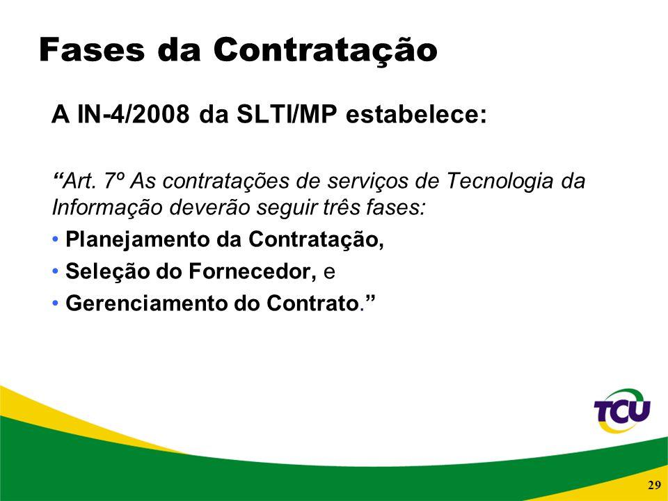 29 Fases da Contratação A IN-4/2008 da SLTI/MP estabelece: Art. 7º As contratações de serviços de Tecnologia da Informação deverão seguir três fases: