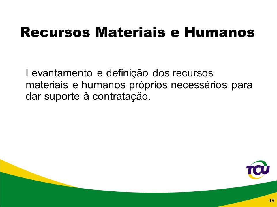 48 Recursos Materiais e Humanos Levantamento e definição dos recursos materiais e humanos próprios necessários para dar suporte à contratação.