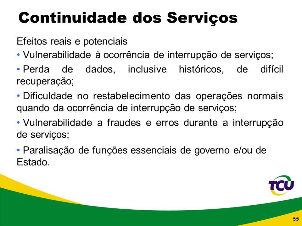 55 Continuidade dos Serviços Efeitos reais e potenciais Vulnerabilidade à ocorrência de interrupção de serviços; Perda de dados, inclusive históricos,
