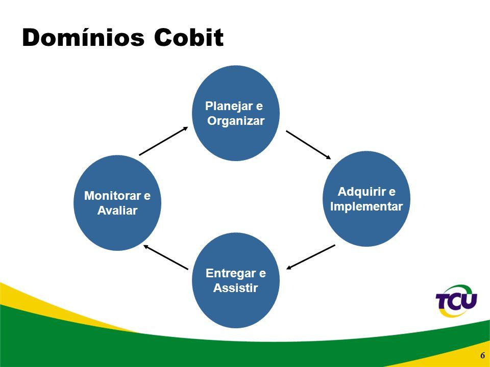 6 Planejar e Organizar Domínios Cobit Monitorar e Avaliar Entregar e Assistir Adquirir e Implementar