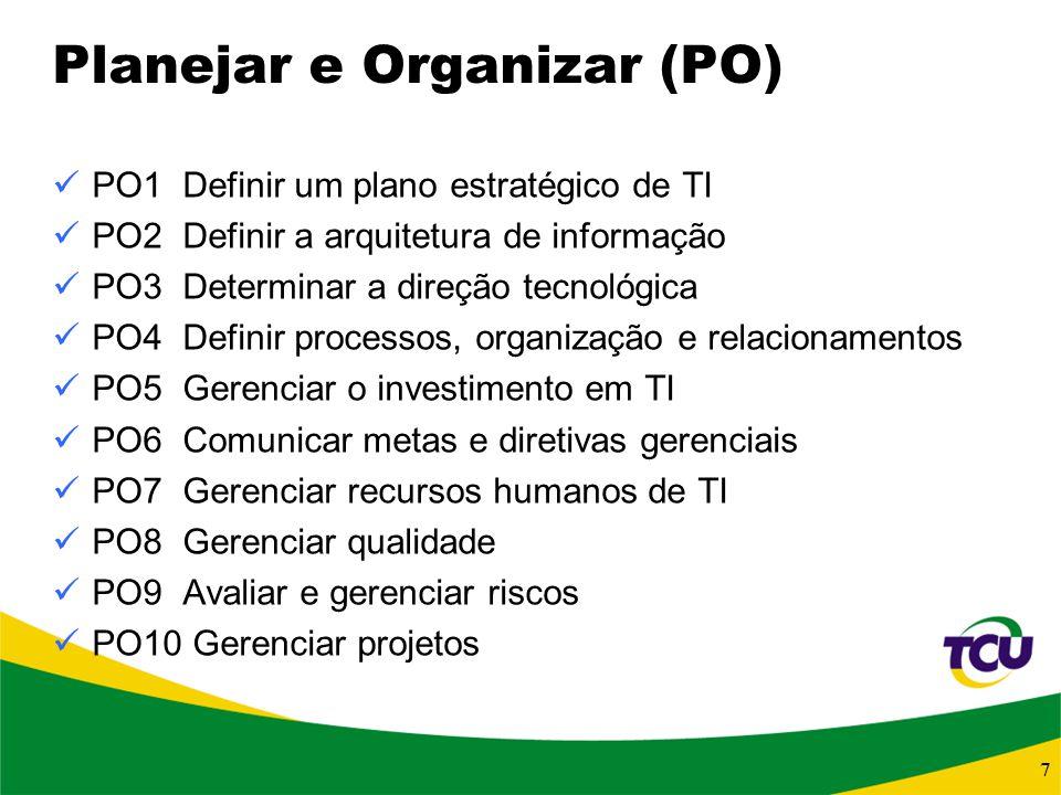 7 Planejar e Organizar (PO) PO1 Definir um plano estratégico de TI PO2 Definir a arquitetura de informação PO3 Determinar a direção tecnológica PO4 De