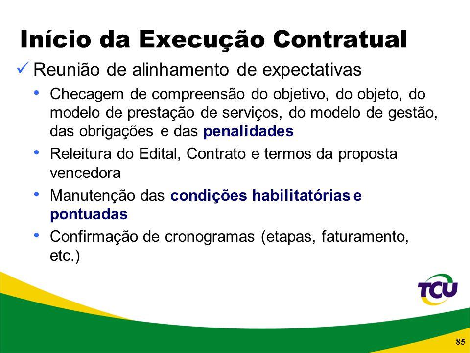85 Início da Execução Contratual Reunião de alinhamento de expectativas Checagem de compreensão do objetivo, do objeto, do modelo de prestação de serv